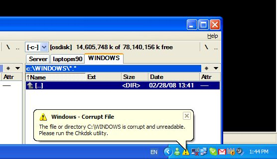 The file or directory C:\Windows is corrupt and unreadable. Please run the Chkdsk utility.